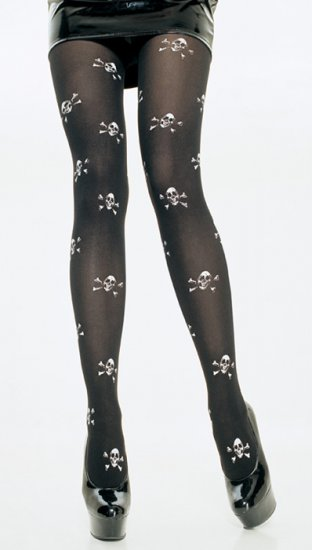 Leg Avenue Opaque Pirate Tights with Skull Printing!