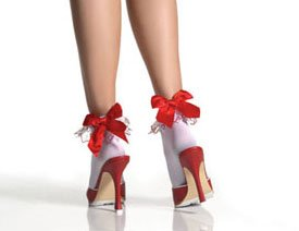 Leg Avenue Anklets Embroidered Heart Ruffle & Satin Bow
