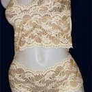 Lace Embroidered Beige Cami Two-Piece Set!