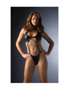 G World Vinyl Studded Thong BodySuit Teddy!