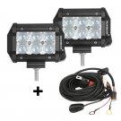 (2pcs/set) 4 inch 18W CREE Spot Beam Offroad Truck LED Light Bar (5D Projector Lens)