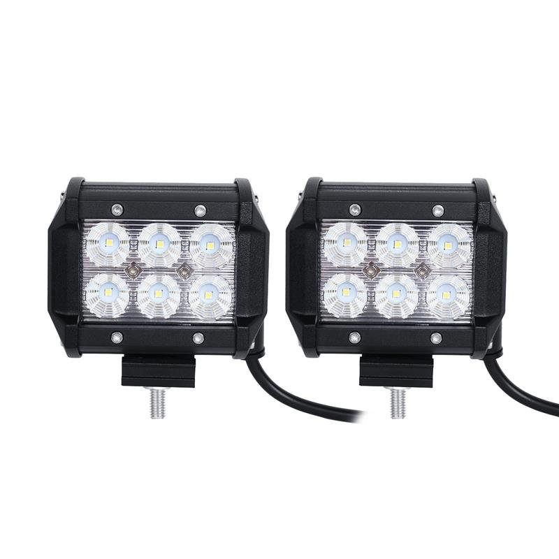 (2pcs/set) 4 inch 18W PHILIPS Flood Beam Dual Row Off Road LED Work Light bar