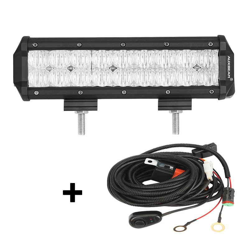 9 inch 54W CREE Flood Beam Dual Row Offroad Truck LED Light Bar (5D Projector Lens)