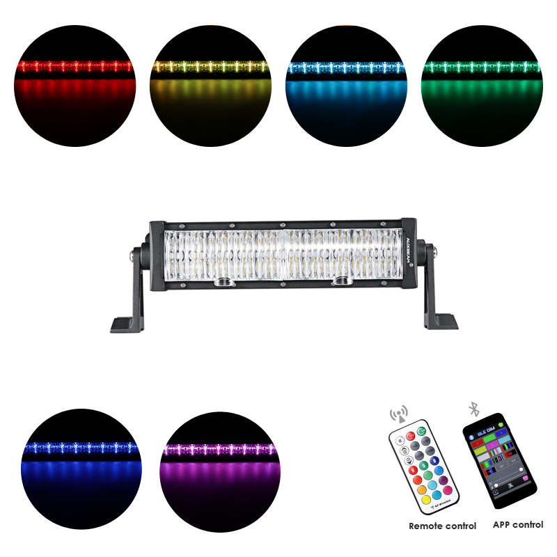 Cross-2 Series 12 inch 60W RGB Straight Combo Beam LED Light Bar (RGB Cross-style DRL)