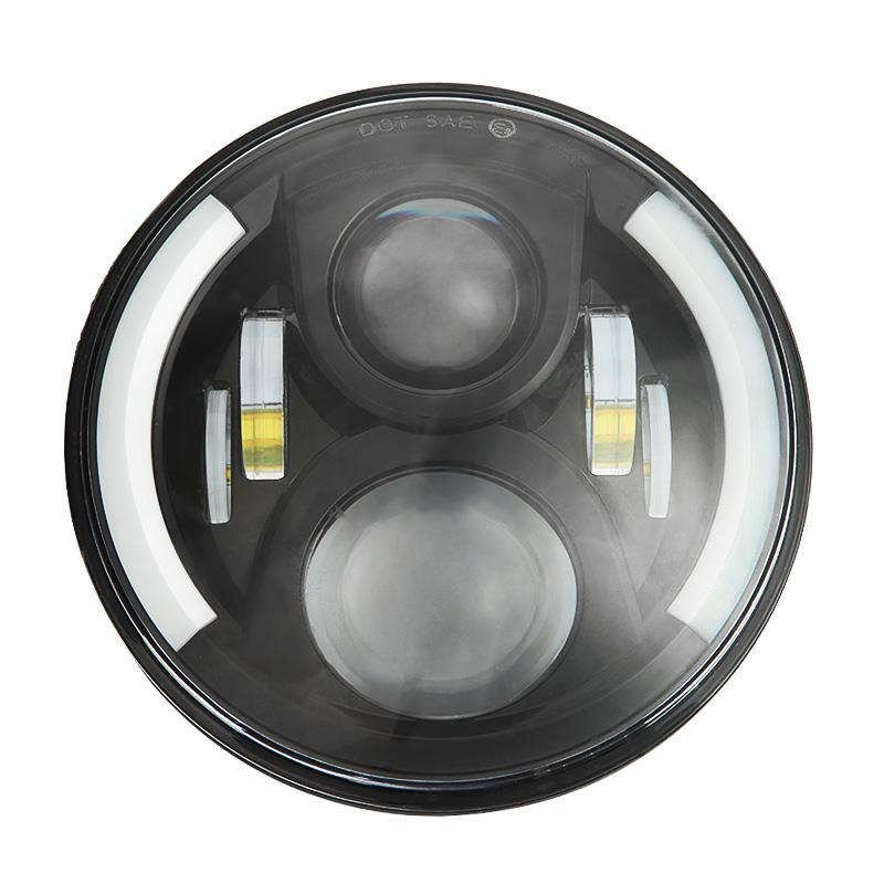 "7"" OSRAM Round Hi-lo Beam LED Seal-beam Headlight with Halo Ring as DRL"