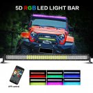 V-Series 52 inch 300W Combo Straight RGB LED Light Bar (5D Projector Lens)
