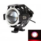 3.5 INCH CREE-U7 BLACK MOTORCYCLE SPOTLIGHT LED DRIVING LIGHT WITH DRL FUNCTION (WHITE+RED LIGHT)