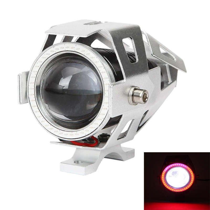3.5 INCH CREE-U7 SILVER MOTORCYCLE SPOTLIGHT LED DRIVING LIGHT WITH DRL FUNCTION (WHITE+RED LIGHT)