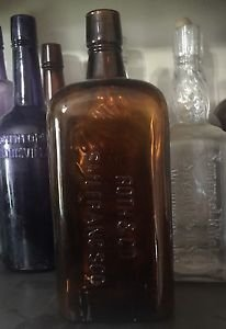 Vintage Roth & Co. Lawton Rye Embossed Amber Whiskey Bottle - San Francisco
