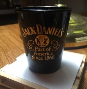JACK Daniels Discontinued Vintage Black Ceramic Gold Script Since 1866 ShotGlass