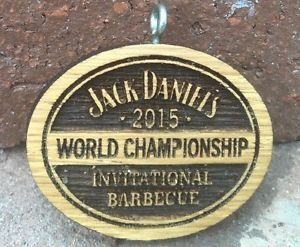 JACK Daniels 2015 World Championship Bbq Discontinued Wooden Keychain