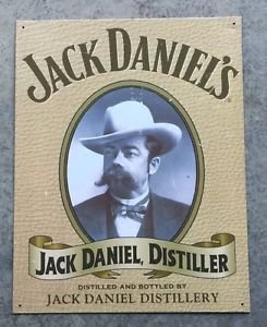 JACK DANIELS Vintage Style  Distiller Metal Bar Sign - White Hat (16 X 12 1/2)