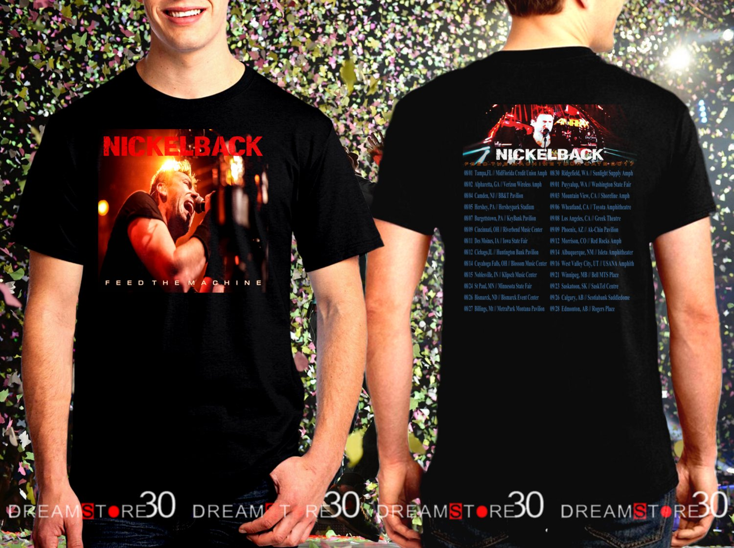 Nickelback Feed The Machinet Tour Dates 2017 Black Concert T Shirt Size S to 3XL NB1