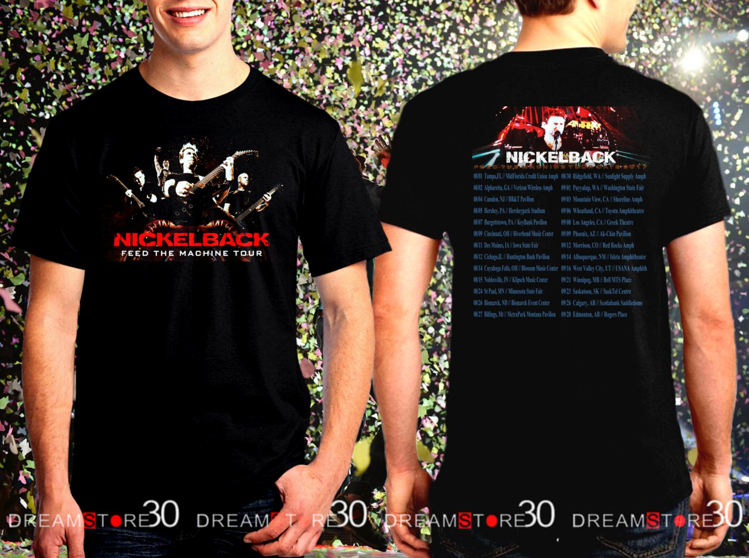 Nickelback Feed The Machinet Tour Dates 2017 Black Concert T Shirt Size S to 3XL NB3