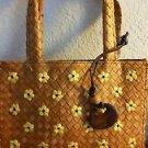 "Esprit Straw Purse Handbag Natural Fibers Small 9"" x 8"" Brown Yellow Flowers NWT"