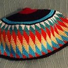 African Hand Woven Hat Tam Cap Burkina Faso Red Yellow Orange Multicolor 20""