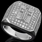 Christian Cross 140 AAA Created Diamonds 0.925 Sterling Silver Men's Size 7 Ring