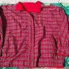 Reversable Cotton Women's Jacket Zip Front Red Plaid Medium Size