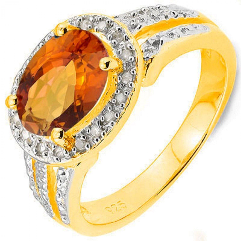 Orange Azotic Gemstone/18 Round Diamonds/Platinum/Sterling Silver/Size 7 Ring