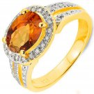 Orange Azotic Gemstone/18 Round Diamonds/Platinum/Sterling Silver/Size 7 Ring