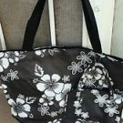 "Large Hawaiian Floral Tote & Cosmetics 2 Bags Black & White Shopping 18"" x 12"""