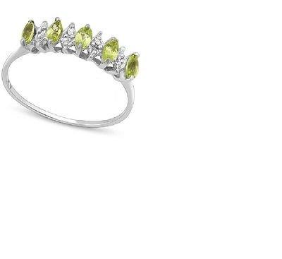 Green Marquise Cut Peridot/6 Round Cut Diamonds/10kt Gold/Size 7