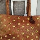 "Esprit Straw Purse Handbag Natural Fibers Large 13"" x 9""  Brown Yellow Flowers"