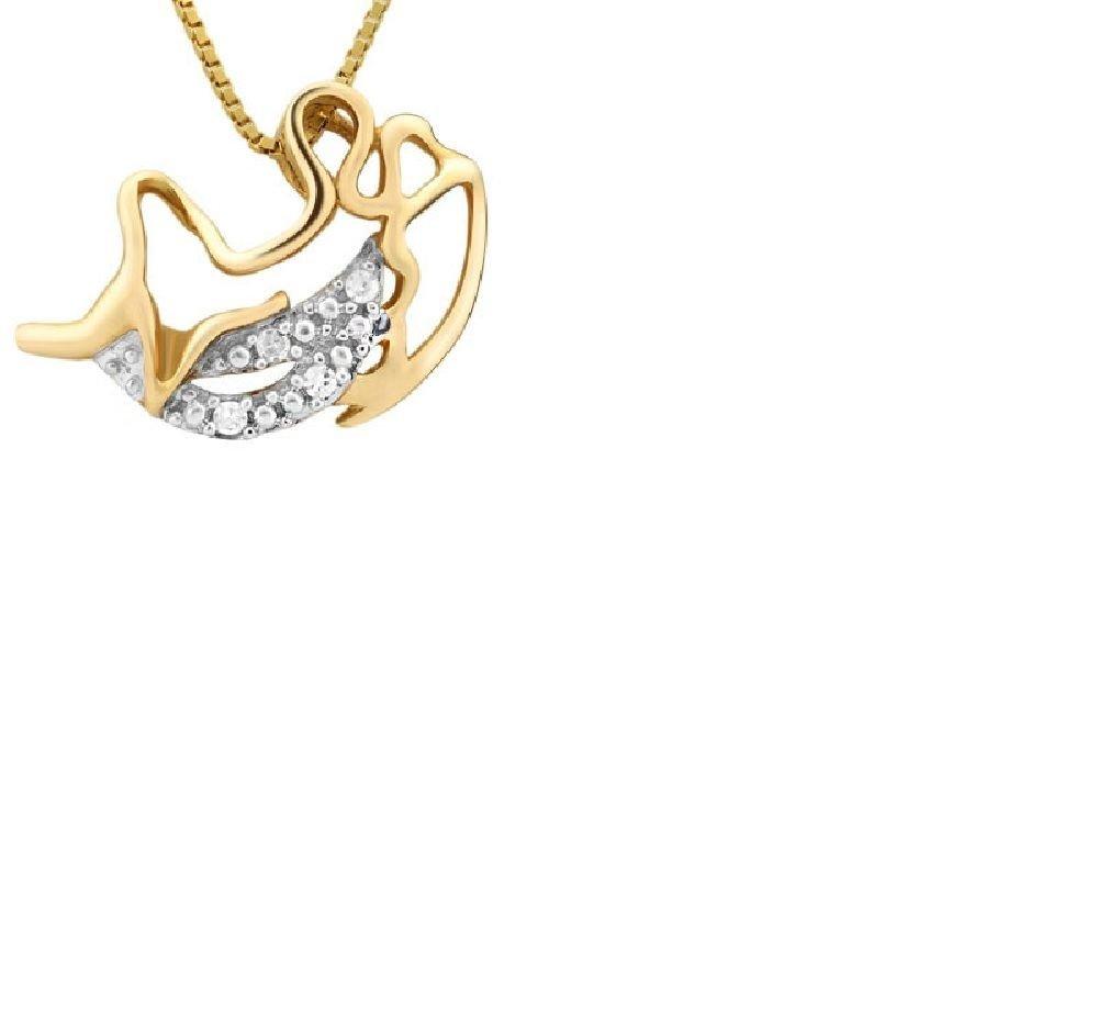 Angel On The Moon Pendant/10kt Gold/5 Round Cut Diamonds 0.05 carat