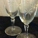 Set of 2 Vintage Cocktail Glasses Long Stem Cut Glass Floral Pattern