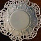 "AVON China Ceramic Decorative Candle/Potpourri Plate/Holder 7.5""d White Pierced"