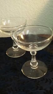 Set of 2 Vintage Cocktail Glasses Long Grecian Stem Clear Glass