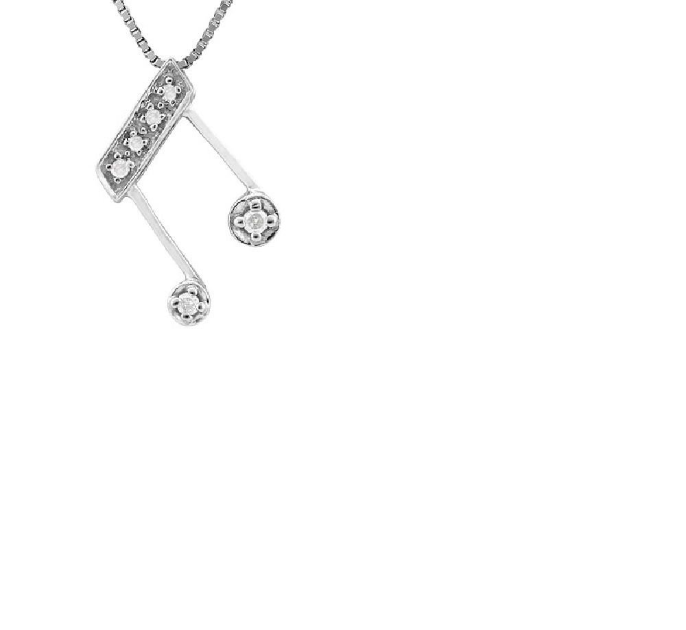 10kt White Gold Music Note/6 Diamonds 0.05 Carat