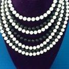 Vintage necklace Black & White vintage beaded Collar 7 Strands