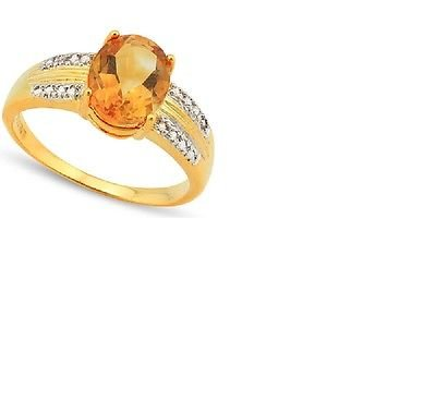 16 Round Cut Diamonds/Oval Yellow Citrine/Platinum/Sterling Silver Ring Size 7