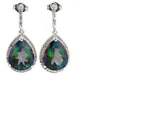 2 Green Mystic Gemstone/16 Diamonds/Sterling Silver/Dangling Earrings