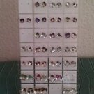 Lot of 30 Crystal Zirconia Cube Stud Earrings with Holder Stand Multiple Colors