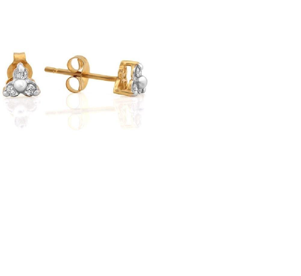 6 Round Cut Diamonds 10kt Gold Earring Studs