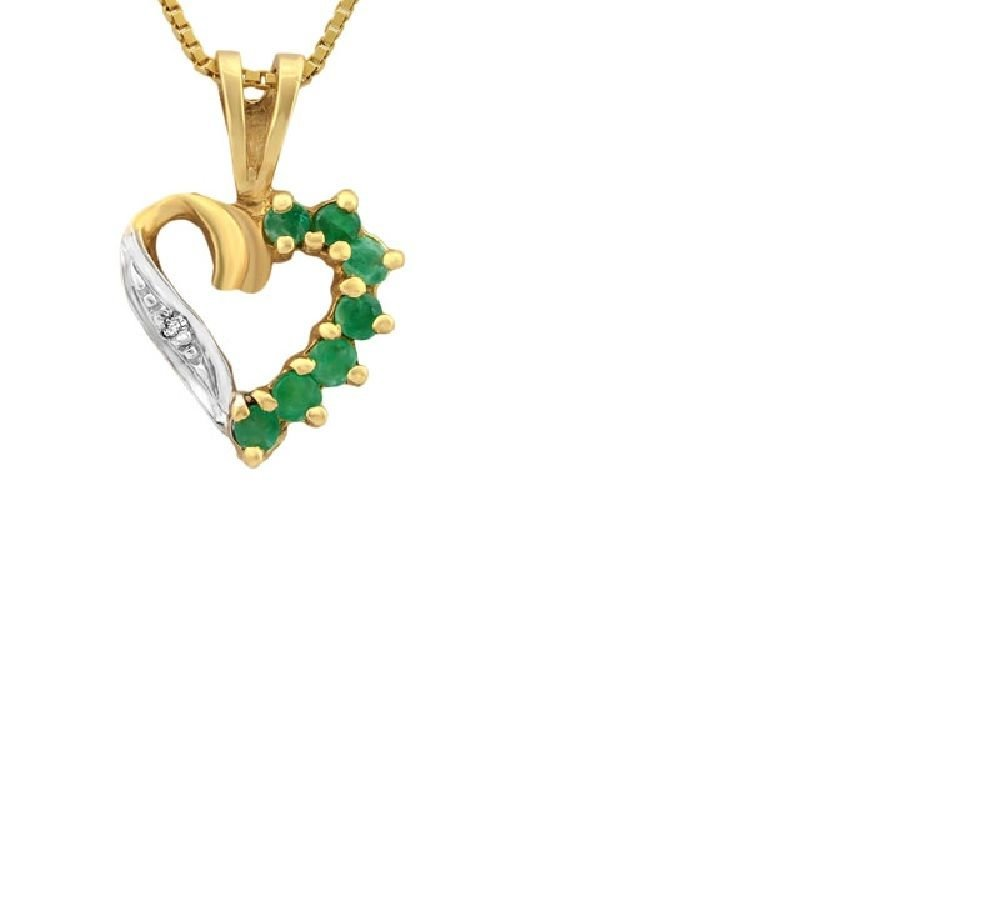 7 Emeralds/Diamond/10kt Gold Heart Pendant