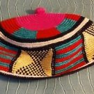 African Tam Hat Hand Woven 100% Cotton Multi Color 20""