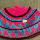 "African Hand Woven Hat Tam Cap Burkina Faso Pink Blue Black 22"" Boho"