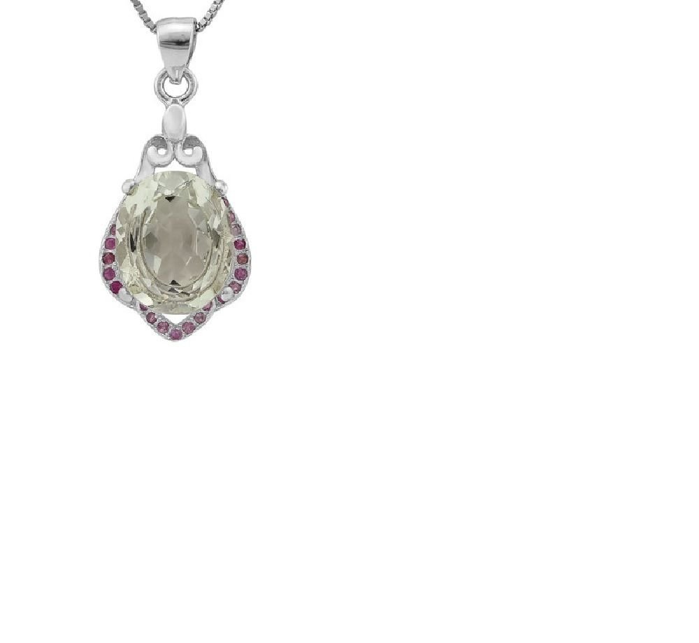 28 Pink Sapphires/Green Amethyst/0.925 Sterling Silver Pendant