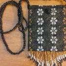 Small Black Beaded Handbag Floral Print Cross Body Fringe Cosmetic Coin Purse