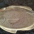 "Vintage Large Clear Glass Fish Shaped Serving Platter Oven Proof 11"" x 8 1/2"""