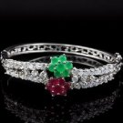 Created Emerald/Created Ruby/Created Diamond/18kt Gold/Bracelet/German Silver