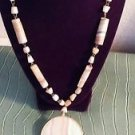 Natural Stone Bead Necklace Large Mystical Pendant Brown White Agate Hook Clasp