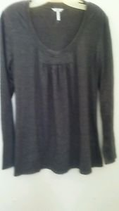 Metro 7 Blouse Dark Gray Jersey Scoop Neck Line Shirt Sweater Tunic Long sleve