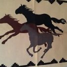 Horses Woven 100% Cotton Rug Tapestry Wall Hanging Table Cloth Western  2' x 3'