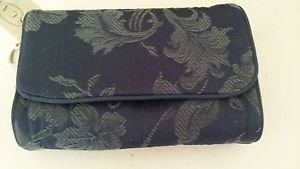 Oscar De la Renta Clutch Navy Blue Paisley Cotton Clutch Mirror Style N20436 Bag
