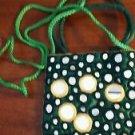 Green Handbag Mirrors Shoulder Strap Yellow Trim Polyester Small Cosmetics Coins