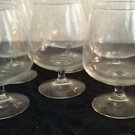 Set of 6 Vintage Clear Glass Stem Wine Large Wine Goblets